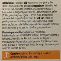 Pizza blanche legumes grillés à la napolitaine - Ingrediënten