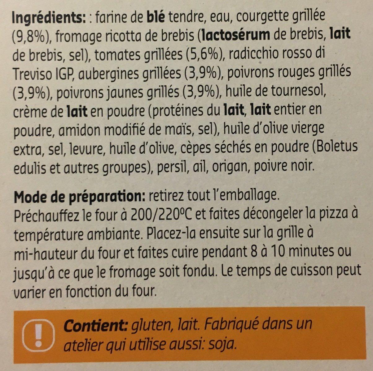 Pizza blanche legumes grillés à la napolitaine - Ingrédients
