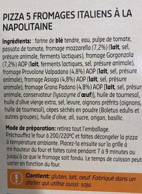 Naples style pizza 5 fromaggi - Ingrediënten