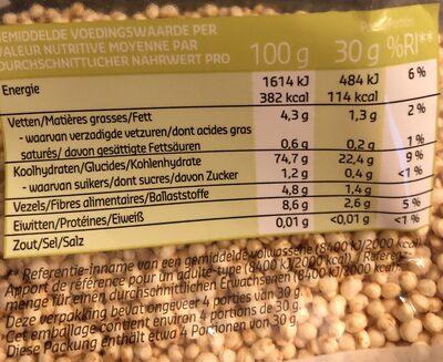 Quinoa soufflé - Nutrition facts - fr