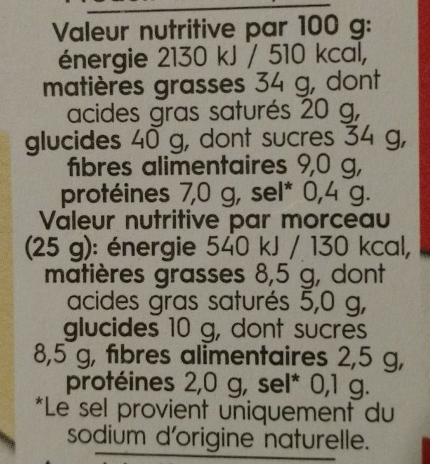 Dark almond coconut - Voedingswaarden - fr