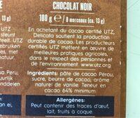 Peru 64% Cocoa - Ingrediënten
