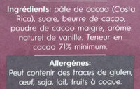 Costa Rica 71% Cocoa - Ingrédients - fr