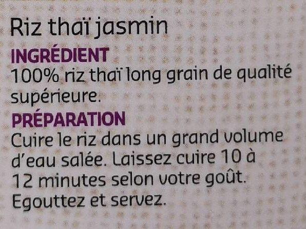 Thai Jasmin - Ingrédients - fr