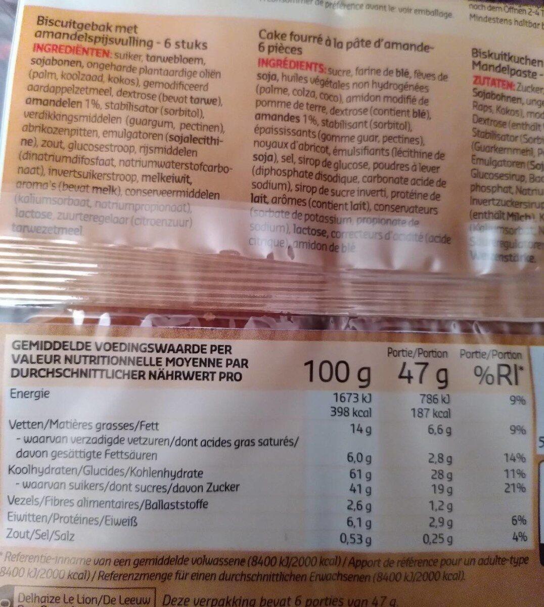 Carrés au goût frangipane - Informazioni nutrizionali - fr