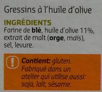 Grissini Torinesi - Ingrédients - fr