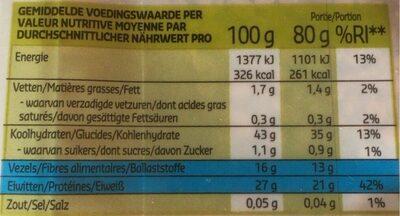 Lentilles rouges - Informations nutritionnelles - fr