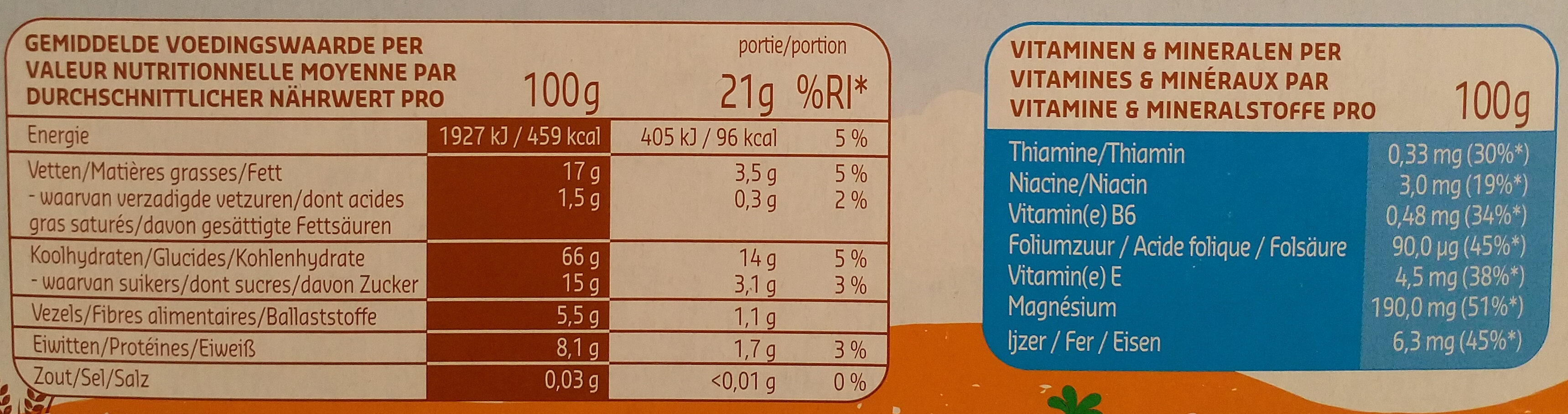 Mini cookies citron orange et carotte - Informazioni nutrizionali - fr