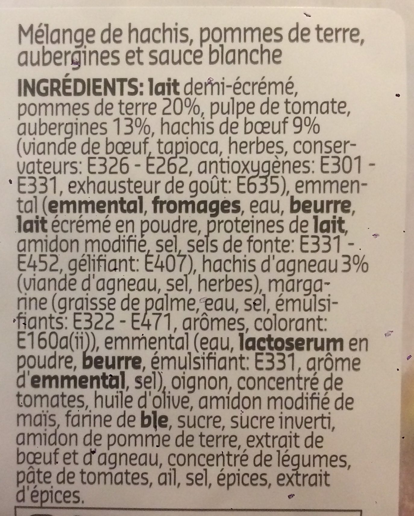 Moussaka - Ingredients