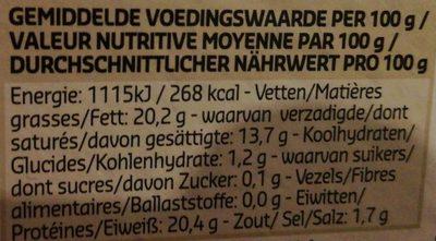 Camembert de Normandie AOP (20,2% MG) - Nutrition facts - fr