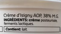 Crème d'Isigny - Ingrediënten - fr
