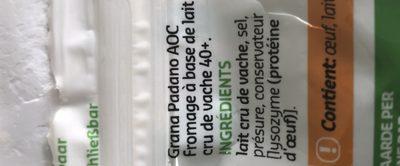 Grana padano dop - Ingrediënten - fr