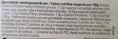 Snack cheese burger - Voedingswaarden