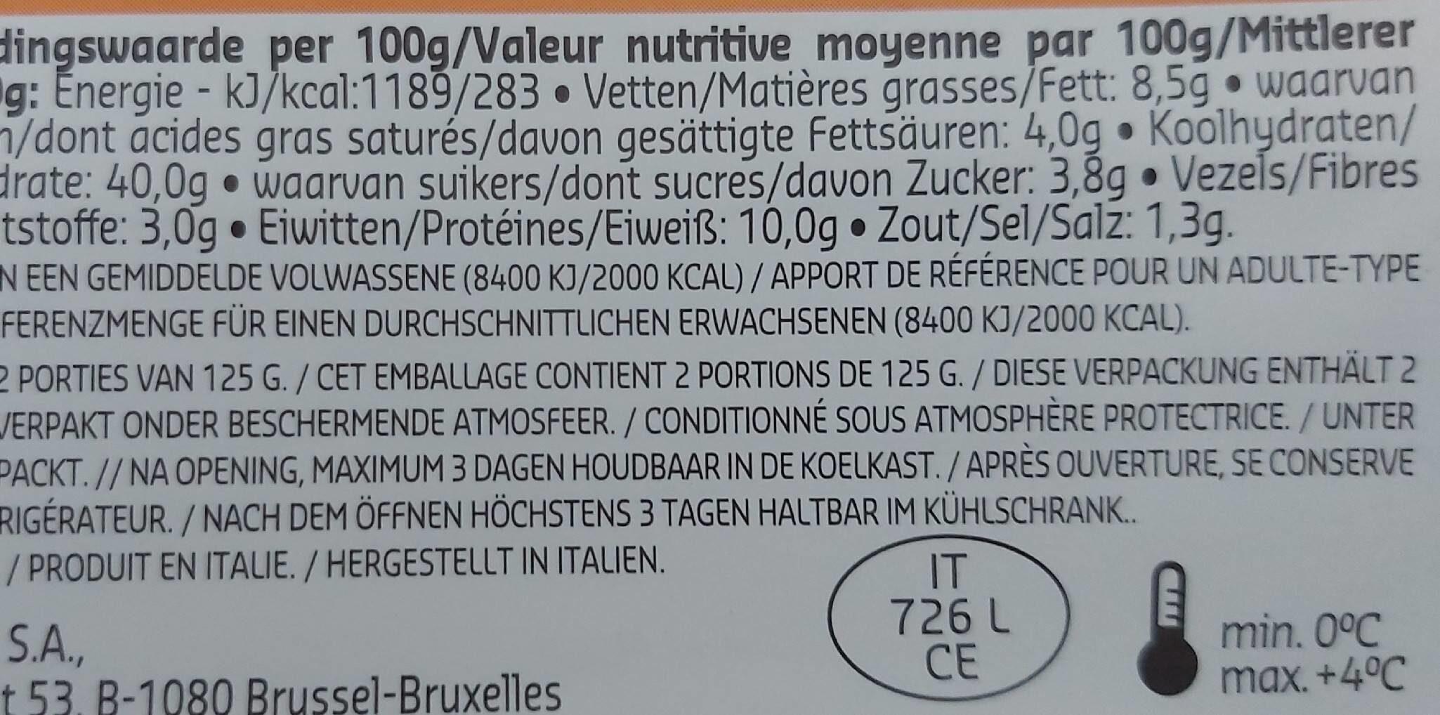 Tortellini Ricotta & Épinard - Voedingswaarden - fr