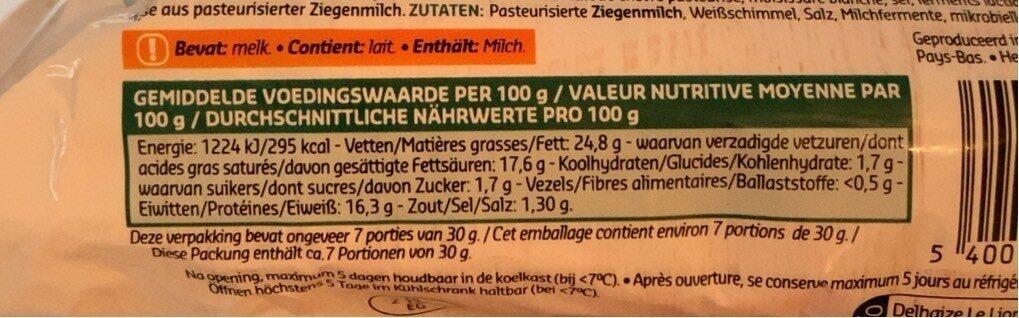 Bûche Sainte Maure - Voedingswaarden - fr