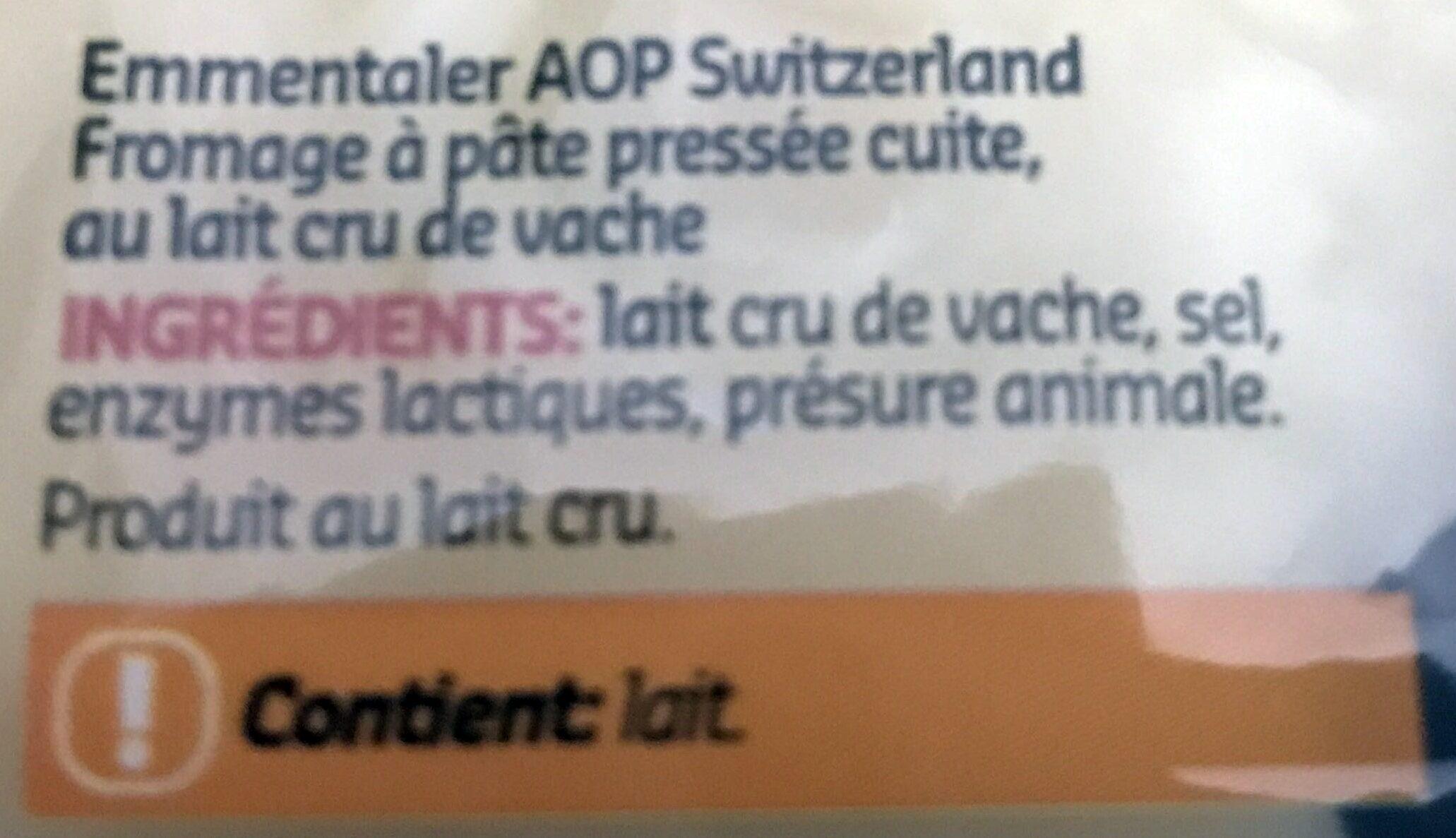 Emmentaler AOP Switzerland - Ingrédients - fr