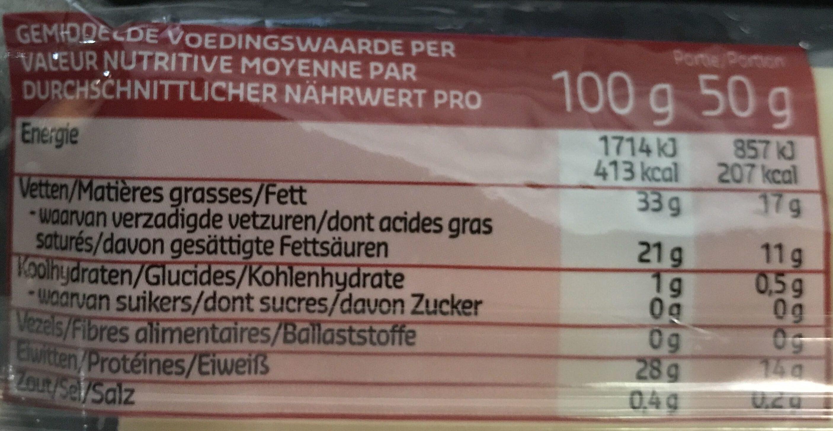 Emmentaler AOP Switzerland - Informations nutritionnelles - fr