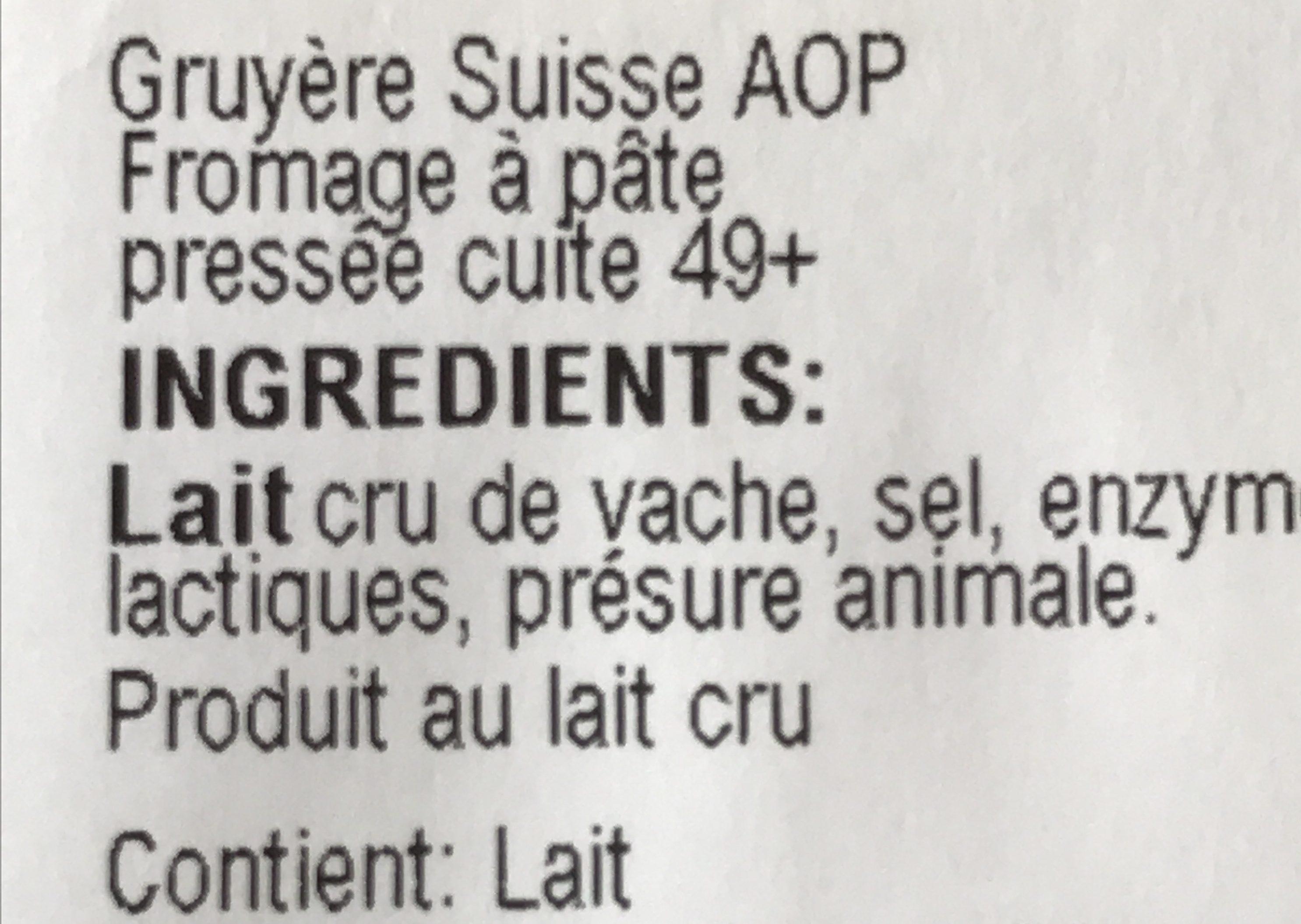 Gruyère suisse - Ingrediënten