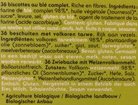 Biscottes au blé complet - Ingredients