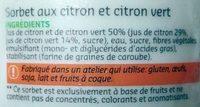 Sorbet pur fruit - Citron & Citron vert - Ingrédients - fr
