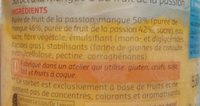 Sorbet mangue et fruit de la passion - Ingrédients - fr