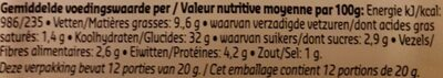 Boulettes mix - Voedingswaarden