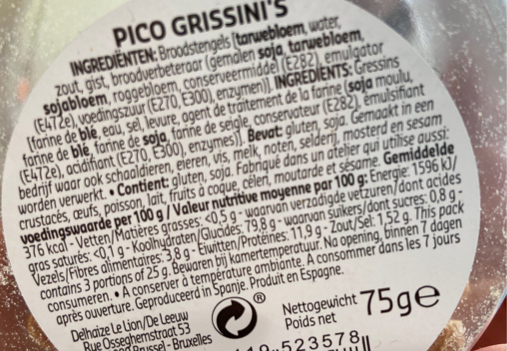 Pico grissini's - Informations nutritionnelles - fr