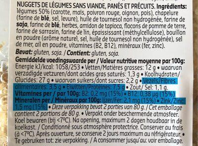 Nuggets aux légumes - Informations nutritionnelles