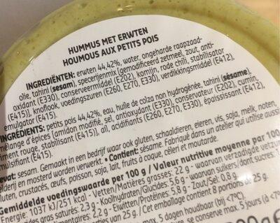 Petit pois houmous - Ingrediënten