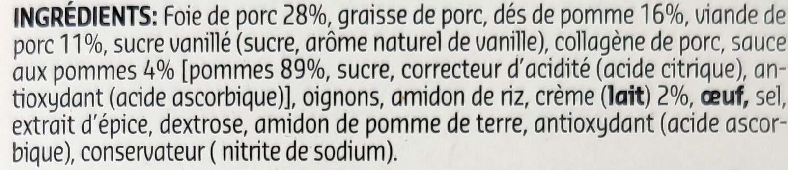 Pâté crème aux pommes - Ingrediënten - fr
