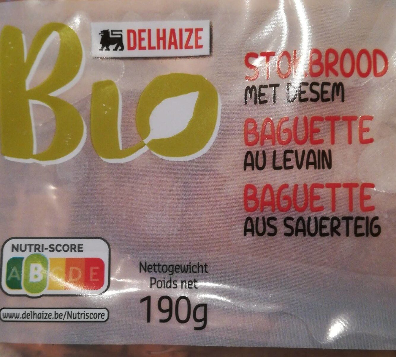 Baguette bio au levain - Informations nutritionnelles