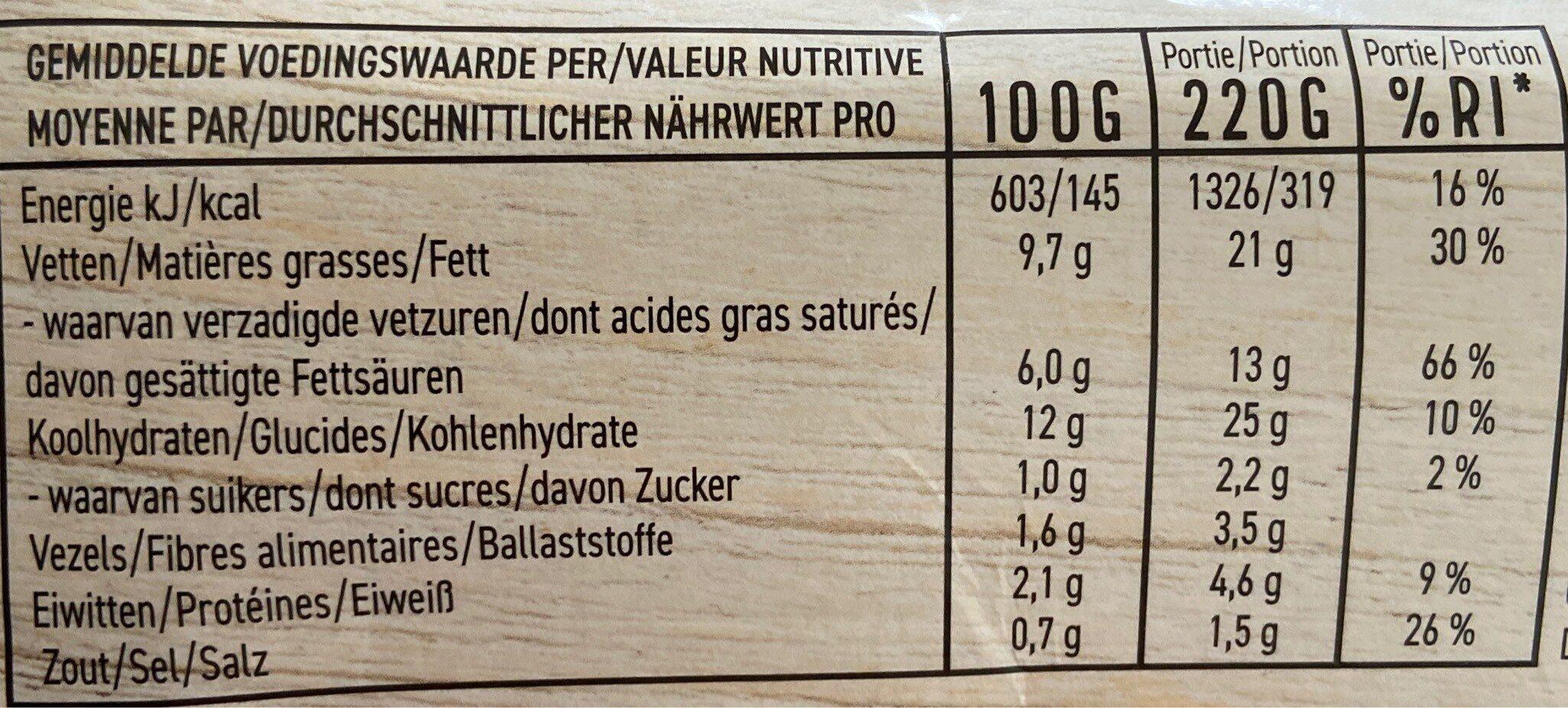Purée de pommes de terre - Voedingswaarden