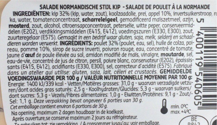 Salade de poulet à la Normande - Voedingswaarden - fr