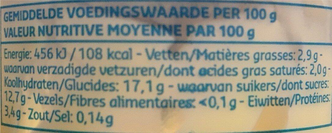 Pudding gout vanille - Voedingswaarden - fr