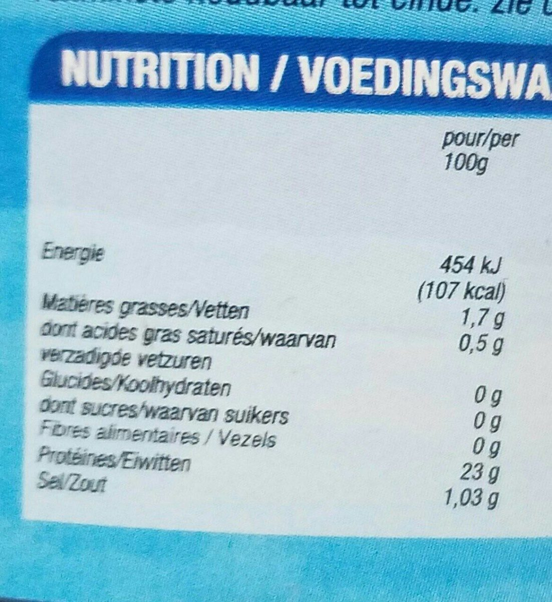 Thon au naturel - Informations nutritionnelles