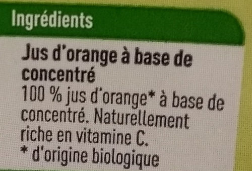 Boni Bio jus d'orange - Ingrédients - fr