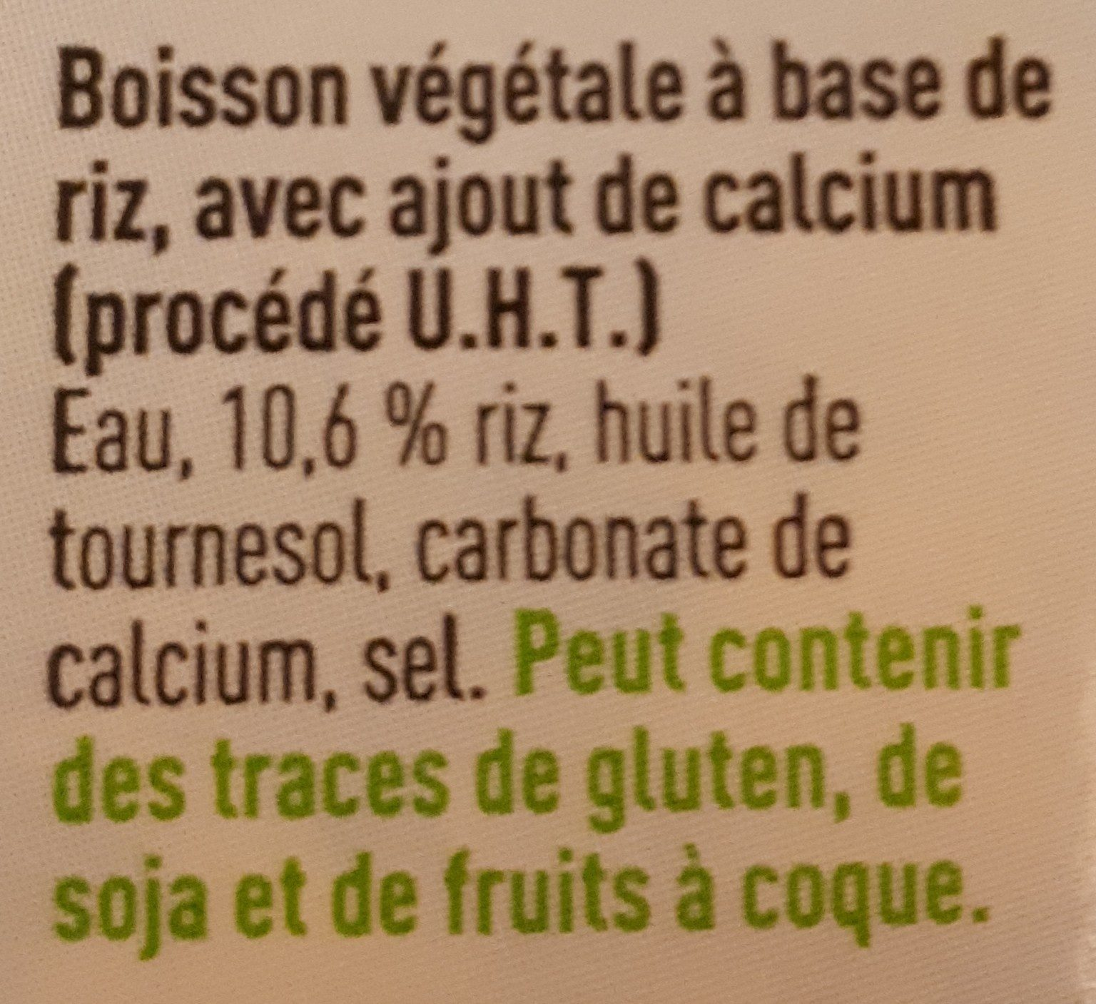Boisson au riz - Ingrediënten