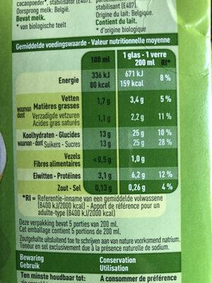 Lait chocolat bio - Voedingswaarden