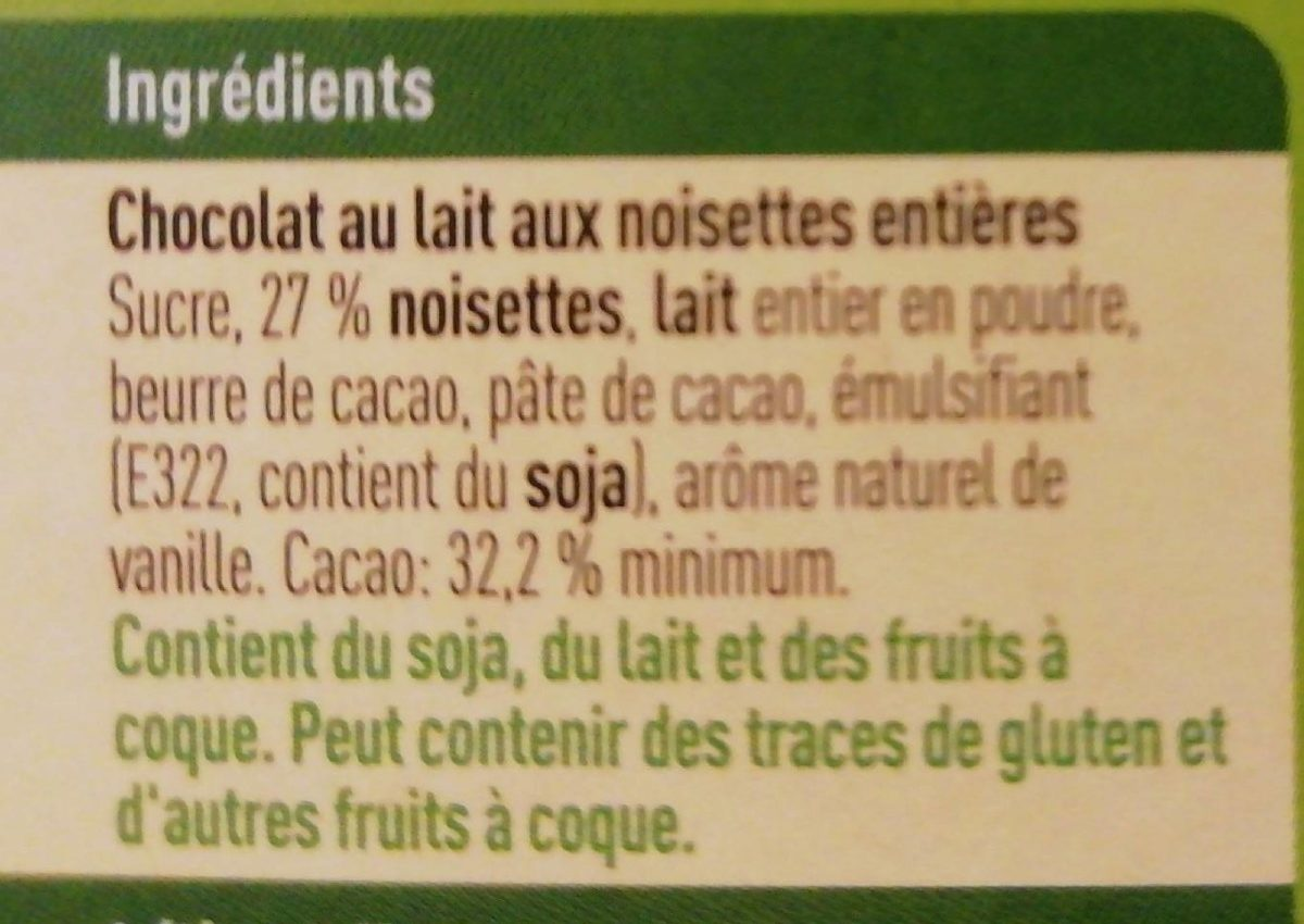 Noisettes chocolat au lait - Ingrediënten - fr