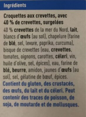 Croquette de crevettes - Ingrediënten