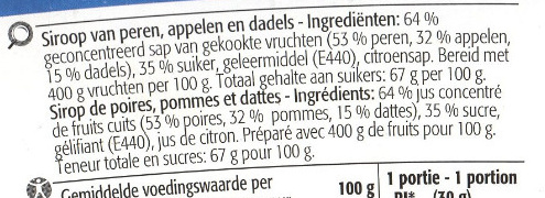 Sirop de poires pommes dattes - Ingrediënten - fr