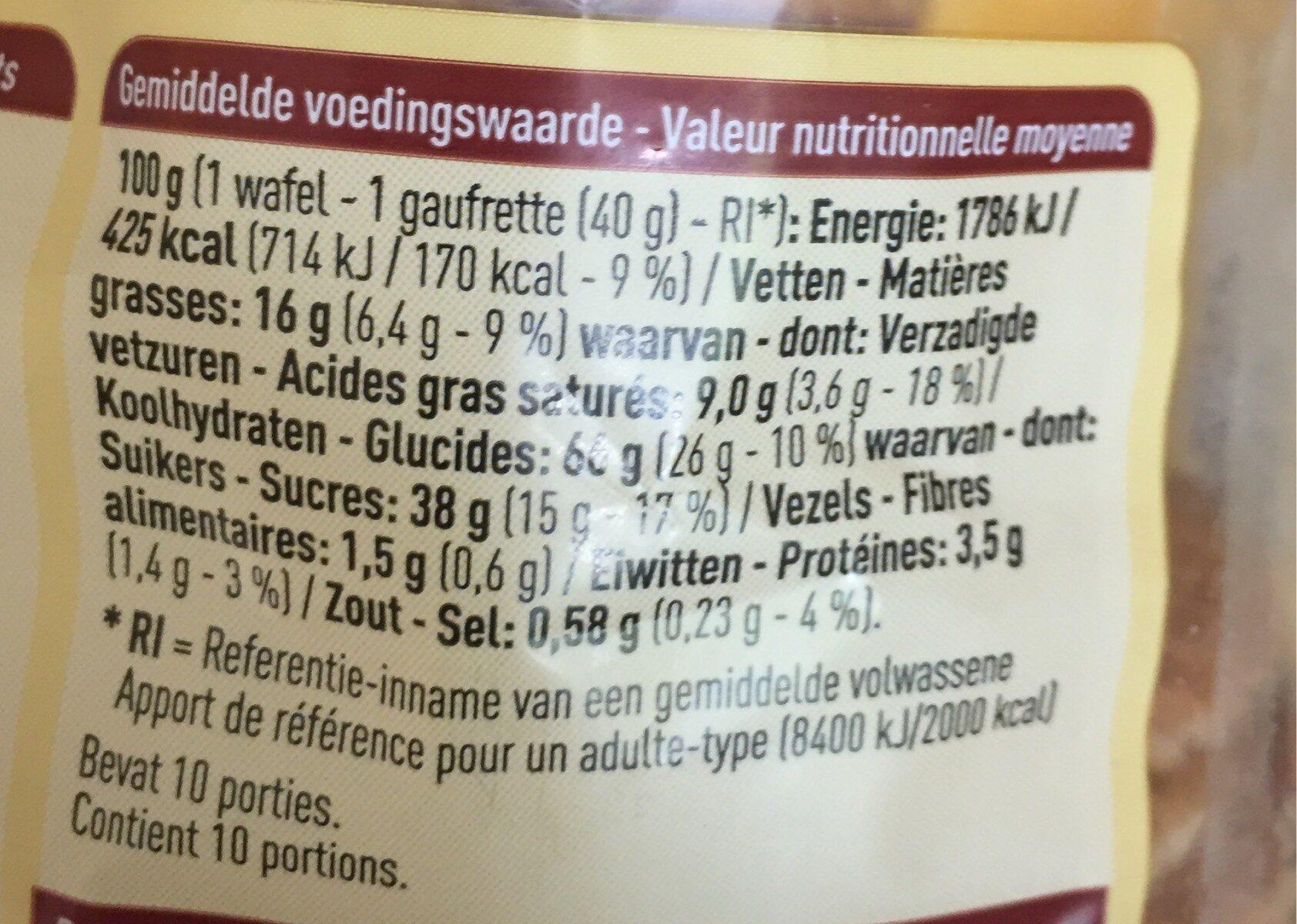 Gaufrettes au sirop - Voedingswaarden - fr
