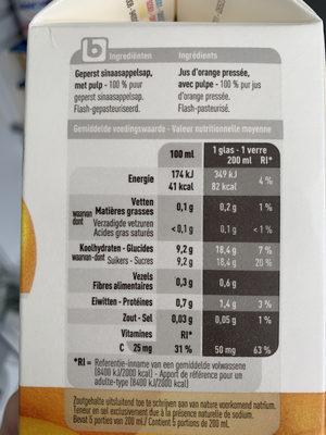 Jus d'oranges - Voedingswaarden - fr