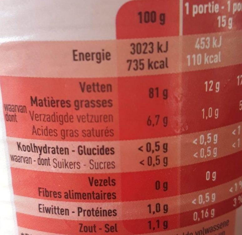 Mayo recette Belge - Informations nutritionnelles