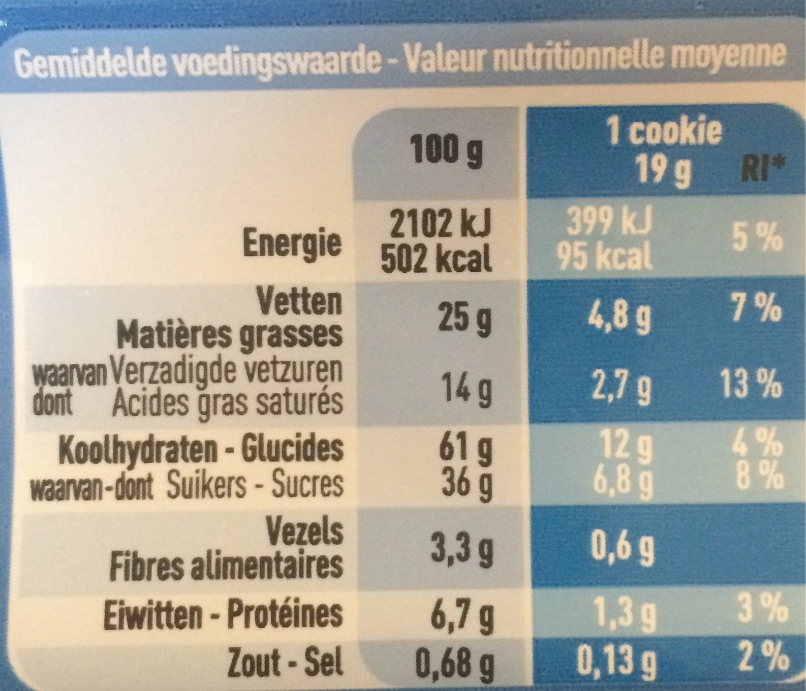 Cookies aux Pépites de Chocolat - Voedingswaarden - fr