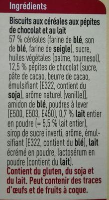 Biscuits Petit-déjeuner au Lait et aux Pépites de Chocolat - Ingrediënten