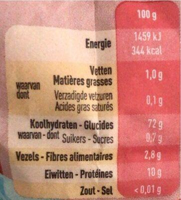 Farine pâtisserie - Voedingswaarden - fr