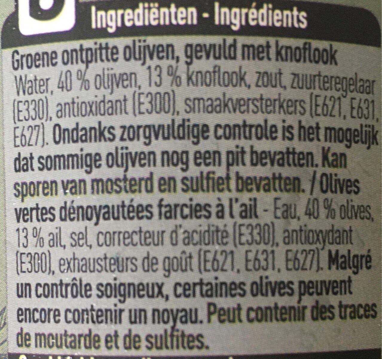Olives farcies à l'ail - Ingrediënten