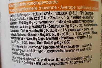 Édulcorant de table à base d'aspartame - Nutrition facts