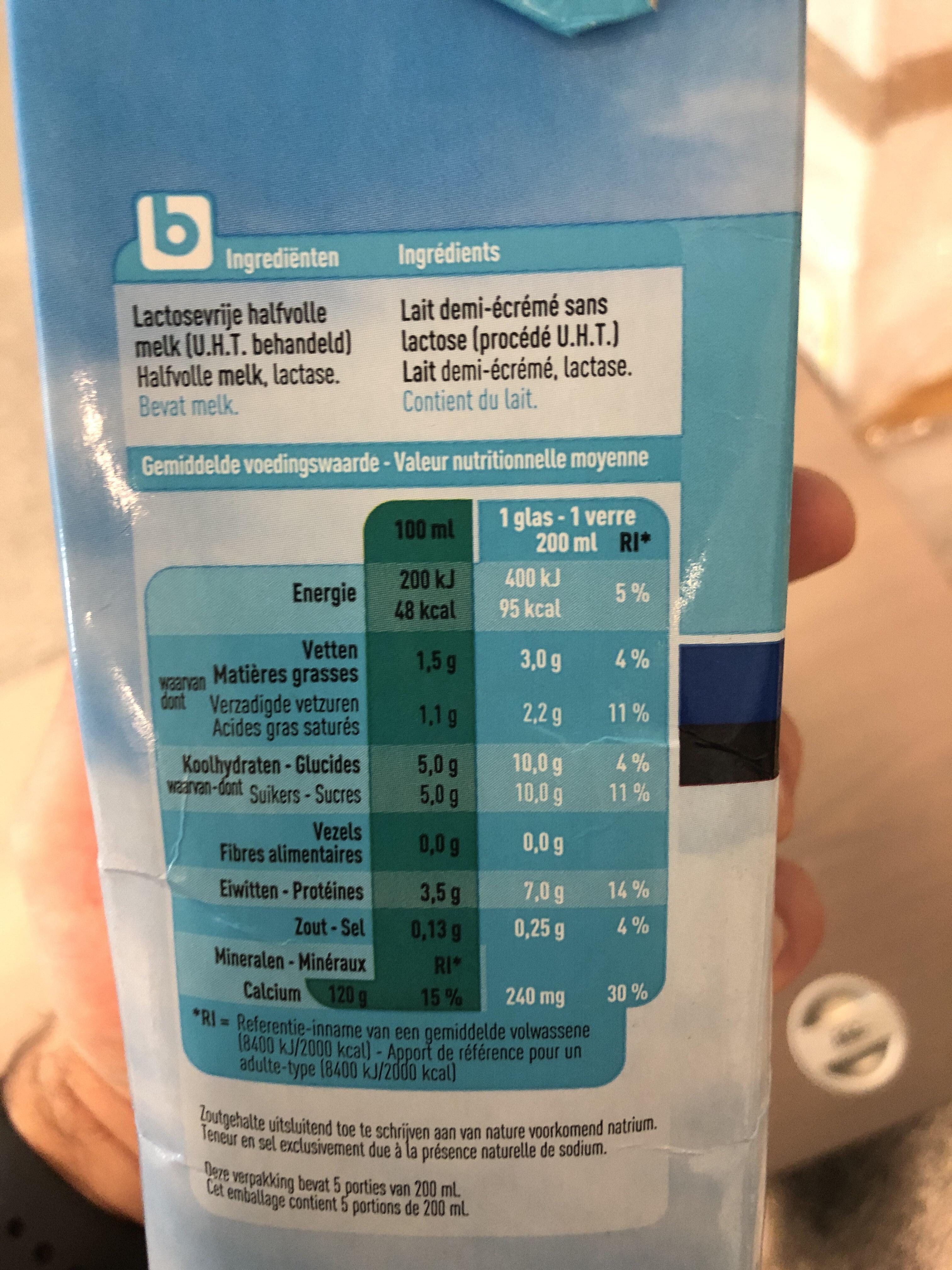 Lait sans lactose - Nutrition facts - en